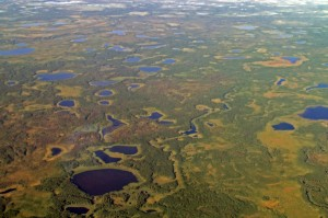 Aerial view of lakes and streams
